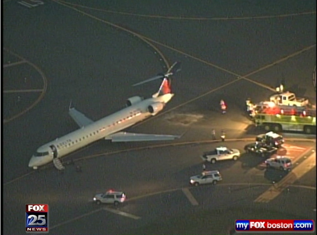 N132 EV on Taxiway at Boston International Airport after collision