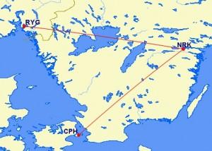 SwedJet Route Map