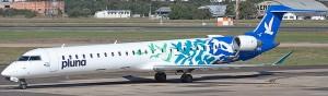 Canadair Regional Jet RJ900LR MSN 15165 CX-CRA<br />in full PLUNA blue great crested flycatcher colour scheme<br />(Photo By: Salgado Filho)