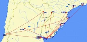 PLUNA Route Map